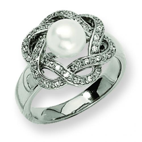 Stainless Steel Cultured Pearl & CZ Ring
