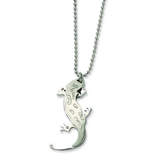 Stainless Steel Lizard w CZ 22in Necklace