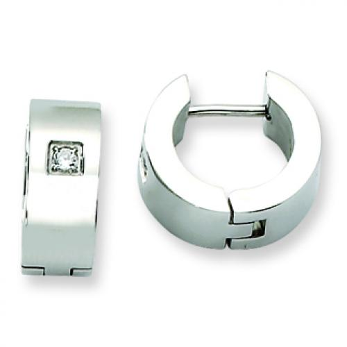 Stainless Steel CZ Polished Round Hinged Hoop Earrings