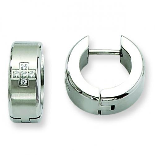 Stainless Steel CZ Brushed & Polished Hinged Hoop Earrings