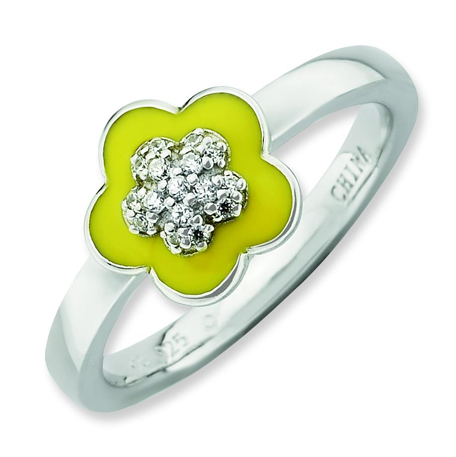 Sterling Silver Stackable Expressions Polished Yellow Enameled & CZ Ring