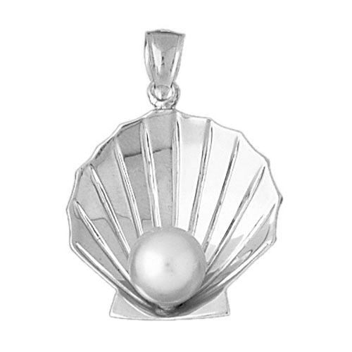 Seashell Pearl Charm Pendant Two Tone 14k Gold