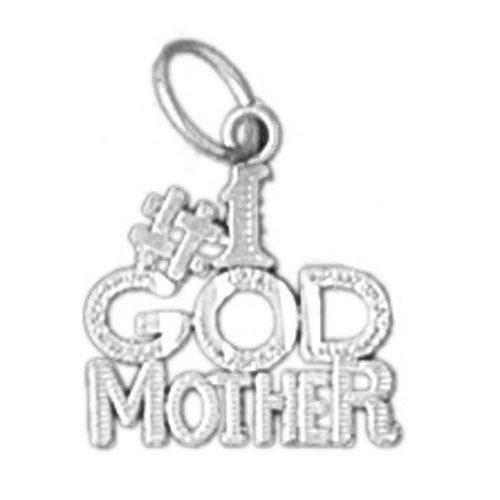 Number One Godmother Charm Pendant 14k Gold