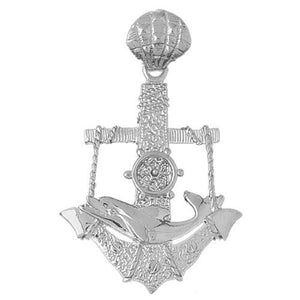Ship Anchor Dolphin and Moveable Wheel Charm Pendant 14k Gold