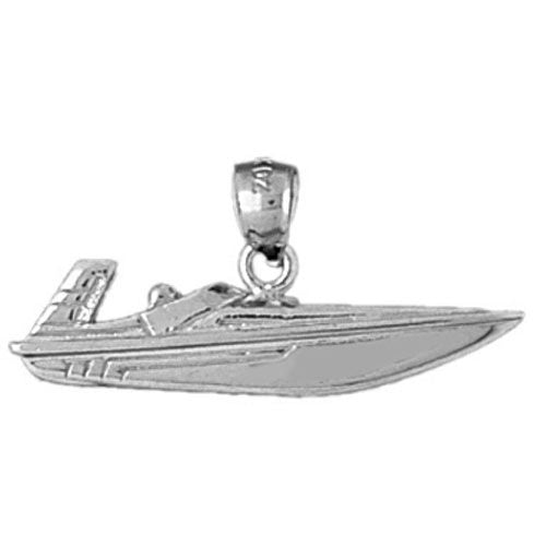 Racing Boat Charm Pendant 14k Gold