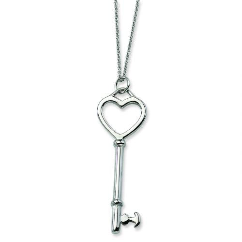 Stainless Steel Heart Key Pendant 18in Necklace