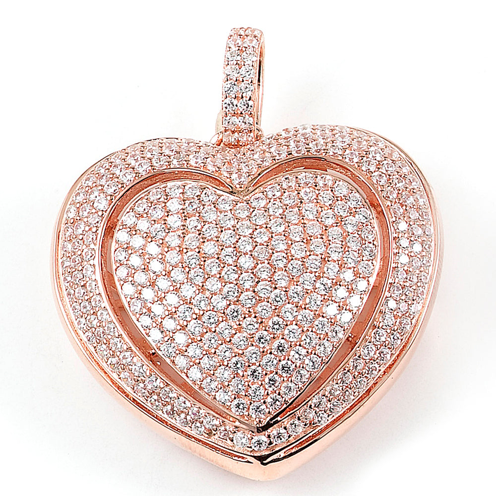 Sterling silver large micro-pave CZ heart pendant