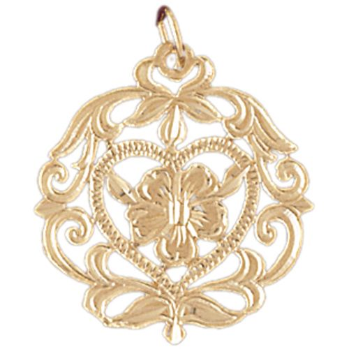 Rose Charm Pendant 14k Gold