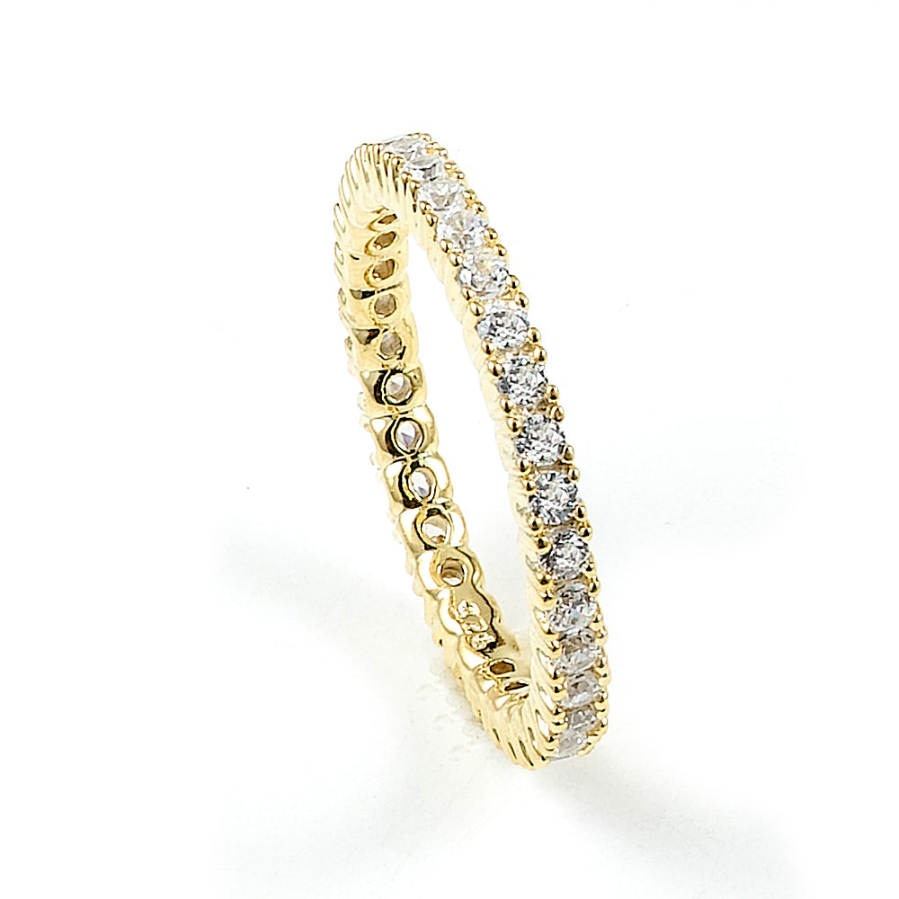 Sterling silver eternity pave CZ band