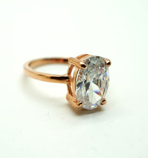 2.75ct Oval Solitaire CZ Rose Gold Plated Engagement Ring