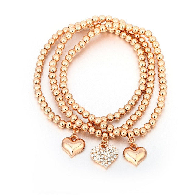 Fashion Rhinestone Heart Crystal Charm Bracelets & Bangles Gold Silver Color Beads Pendants Women Ladies Bracelets 3Pcs/Set