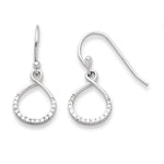 Sterling Silver with CZ Infinity Symbol Shepard Hook Earrings