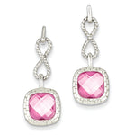 Sterling Silver Pink Square CZ Post Dangle Earrings