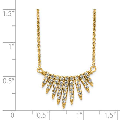 Sterling Silver Gold-Tone CZ Necklace