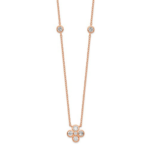 Sterling Silver Rose Gold-Plated Polished CZ With 2in Ext. Necklace