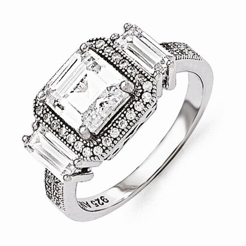 Sterling Silver Cubic Zirconia 2 Shanks Brilliant Embers Engagement Ring