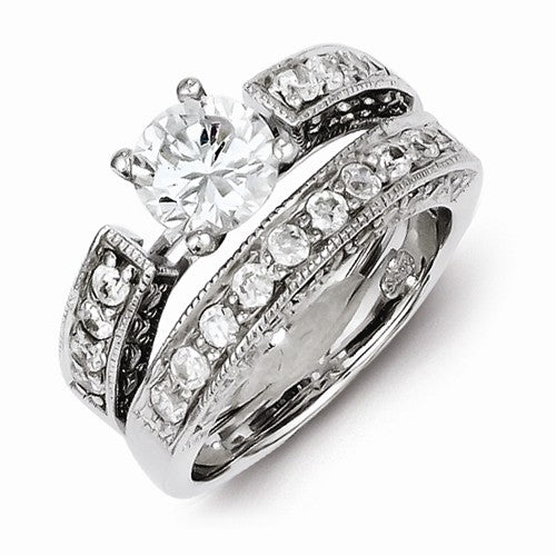Stunning Sterling Silver 2-Piece CZ Wedding Set Ring with 925 stamp