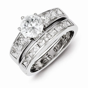 Sterling Silver Round Cut CZ 2 Piece Wedding Set Ring (Cubic Zirconia)