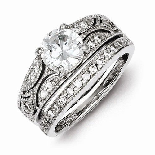 2-Piece CZ Wedding Set Sterling Silver Polished Ring