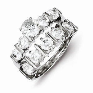 Sterling Silver 2-Piece Cubic Zirconia Wedding Set Ring