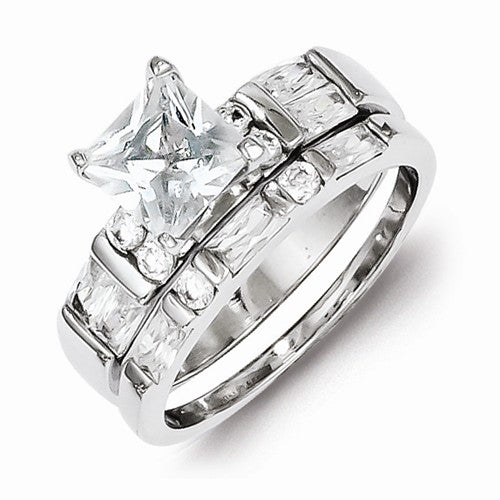 Sterling Silver Princess Cut CZ 2 Piece Set Wedding Ring