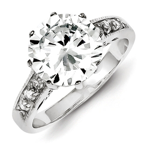 Sterling Silver Round Shaped CZ Engagement Ring with stones in the setting