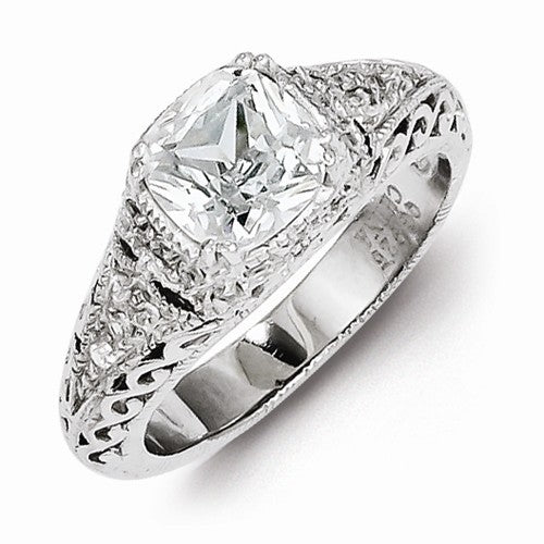 Sterling Silver Cushion cut with details on the setting  CZ Engagement Ring