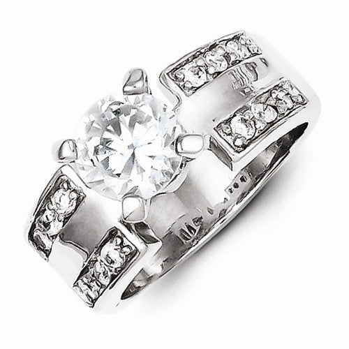 Sterling Silver 2-Row CZ Wedding Ring