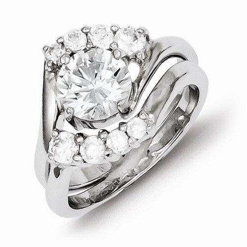 2 Piece Sterling Silver with CZ Stones Wedding Ring