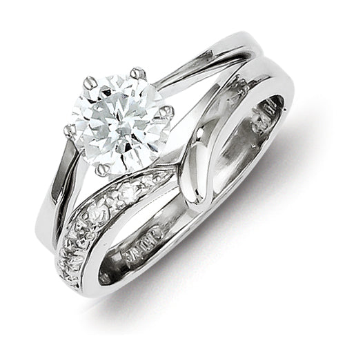 Sterling Silver 2-Piece CZ Wedding Ring