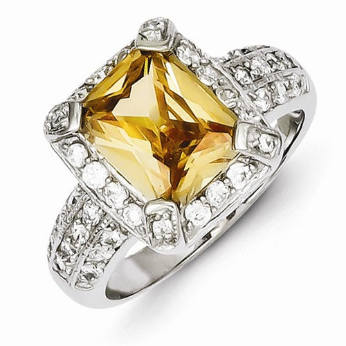 Sterling Silver Canary Yellow CZ Engagement Ring