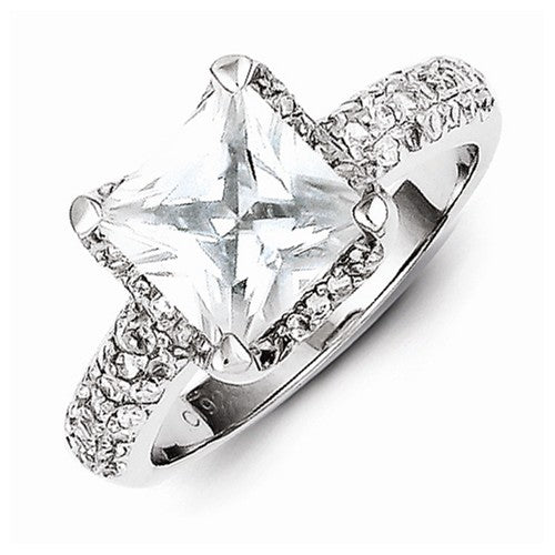 Sterling Silver Square Princess Cut CZ Engagement Ring