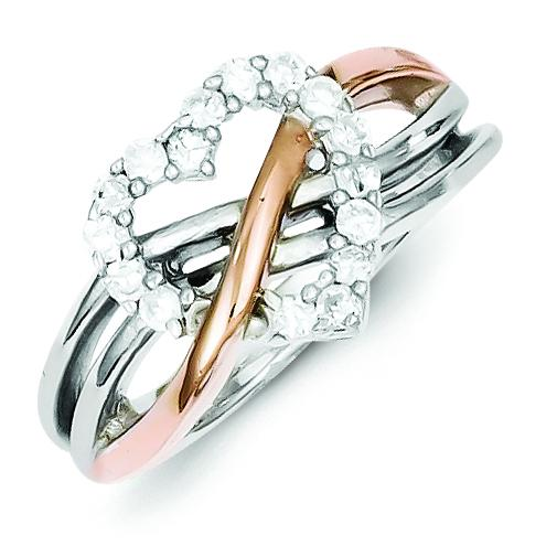 Sterling Silver and Vermeil Polished CZ Heart Ring