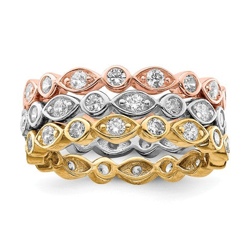 Sterling Silver Vermeil Trio CZ Eternity Band/ring