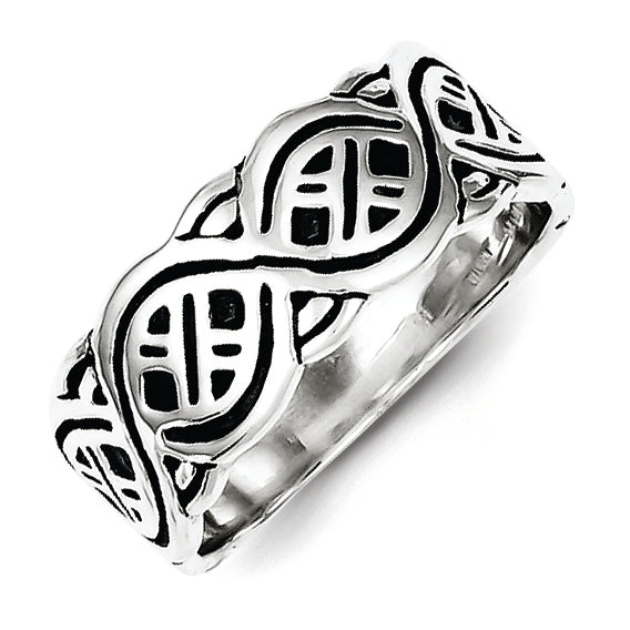 Sterling Silver Fancy Antiqued Band