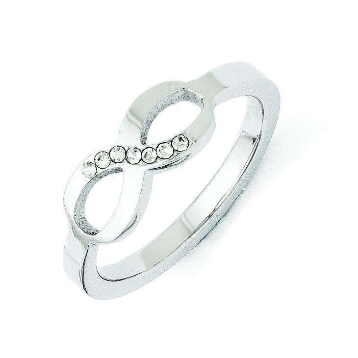 Stainless Steel Polished Infinity Symbol CZ Ring