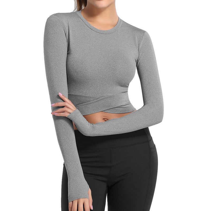 200000649 Core Fit Long Sleeve Crop Top in Grey - Jane Gear