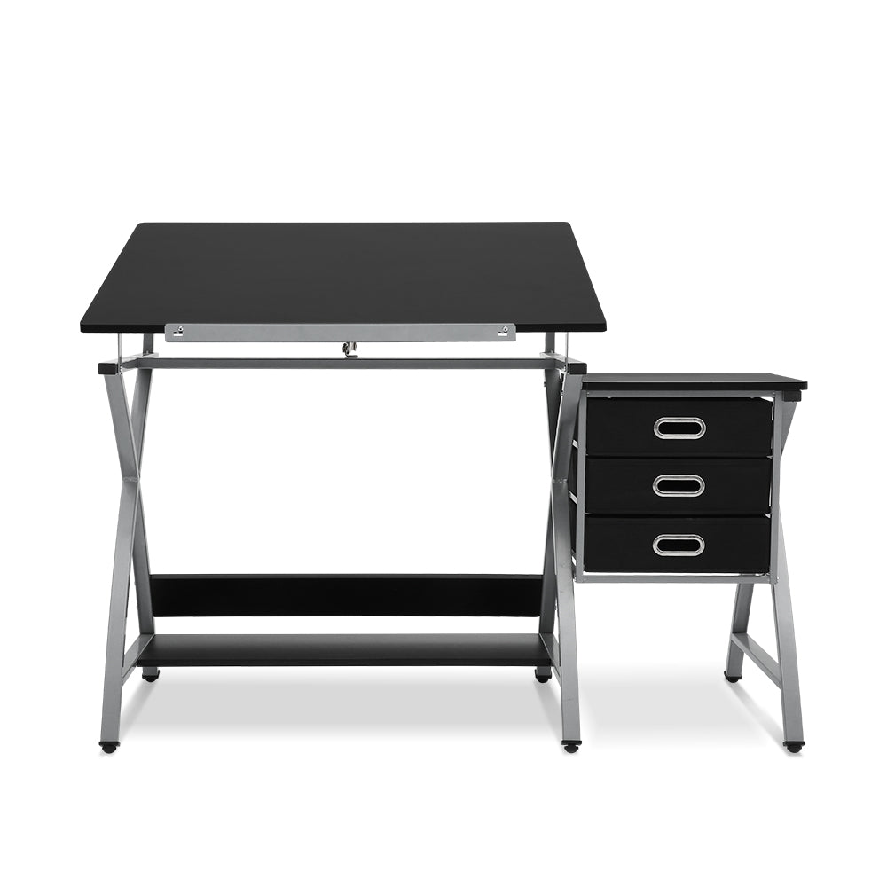 Artiss Drawing Desk With Stool Adjustable Tilt Drafting Table Metal Silver Black