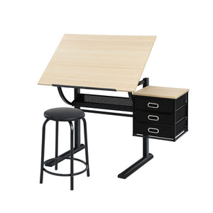 Artiss Drawing Desk With Stool Tilt Drafting Table Set Drawer Art Craft Student Natural Black