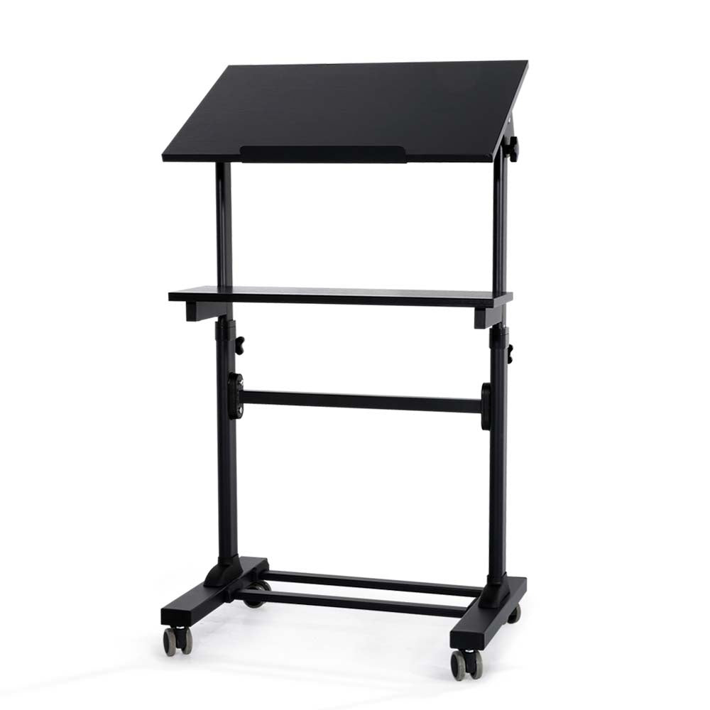 Height Adjustable Tilt Mobile Standing Laptop Desk Office Bedside Table