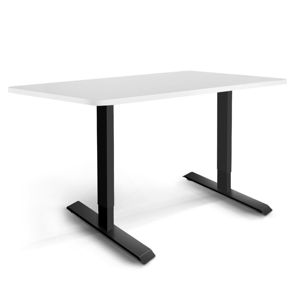 Electric Motorised Height Adjustable Standing Desk - Black Frame with 140cm White Top