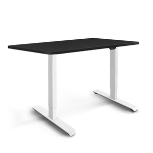 Electric Motorised Height Adjustable Standing Desk - White Frame with 100cm Black Top