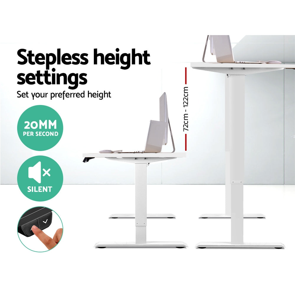 Artiss Roskos I Electric Motorised Height Adjustable Standing Desk Sit Stand Table Curved 140cm White