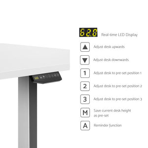 Artiss Height Adjustable Standing Desk Sit Stand Motorised Electric Roskos III Grey White