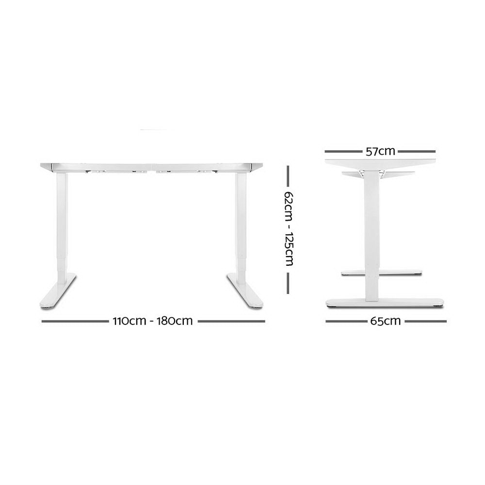 Artiss Height Adjustable Standing Desk Sit Stand Motorised Electric Roskos III White Black