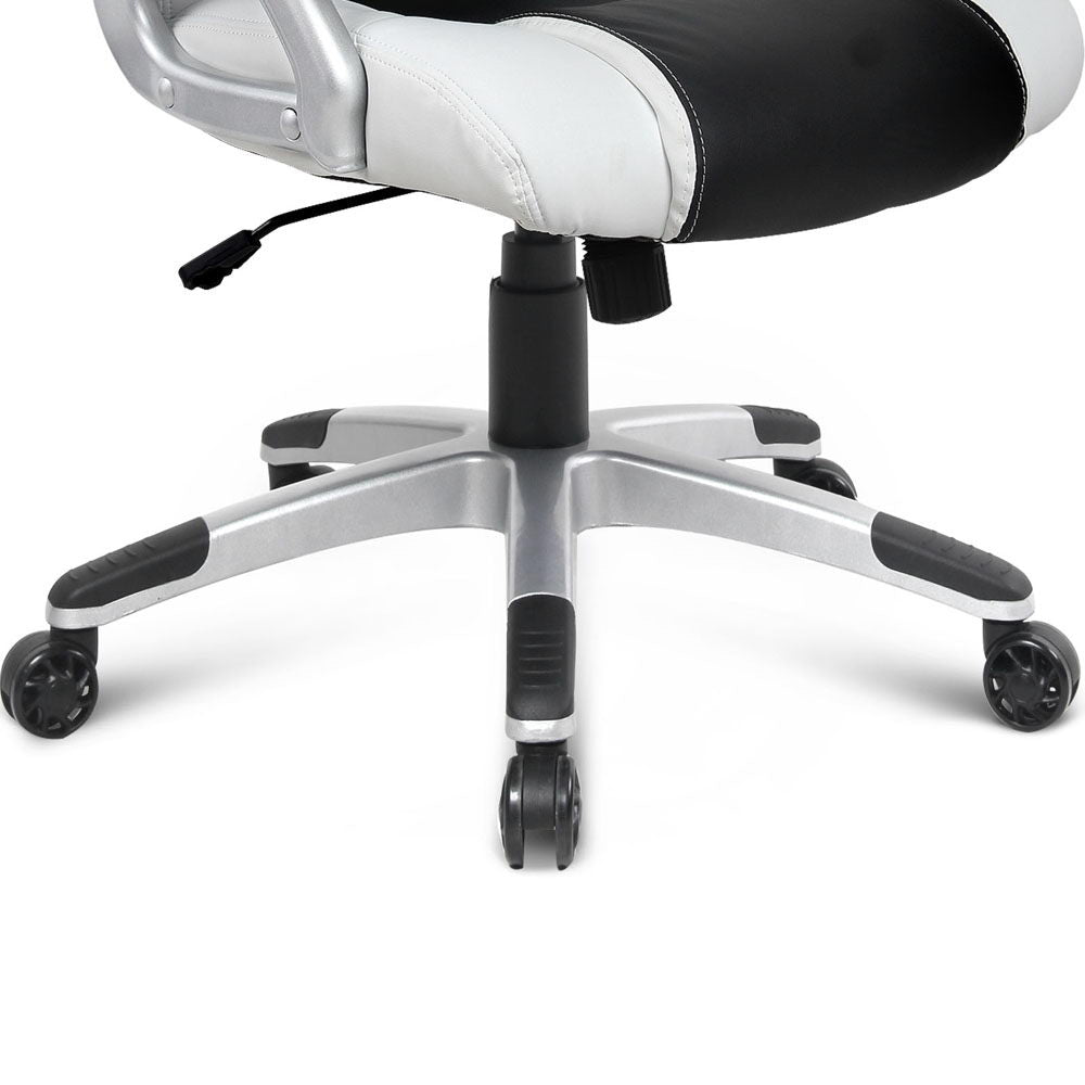 PU Leather Racing Style Office Desk Chair - Black &White