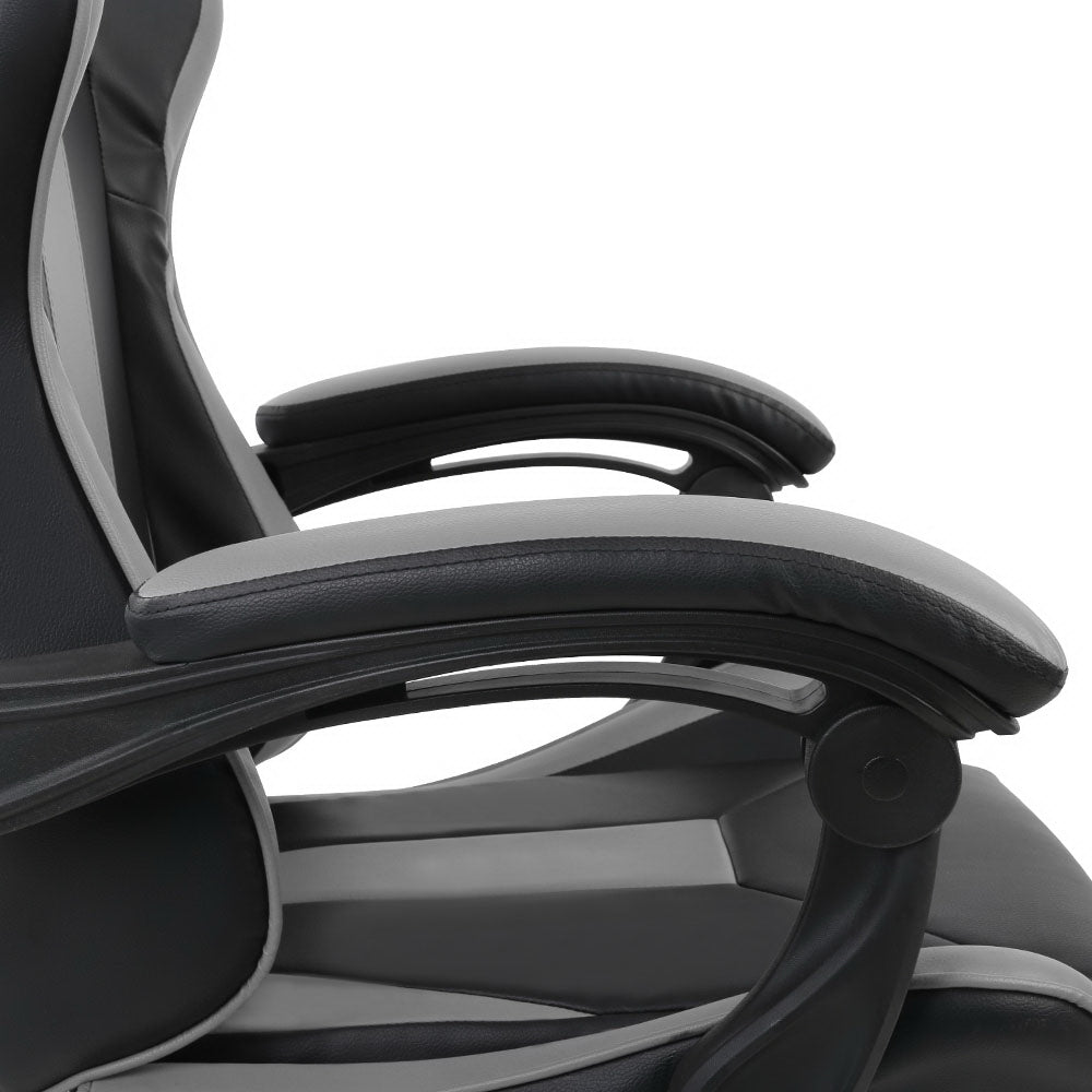 Reclining Office Desk Gaming Chair - Black and Grey