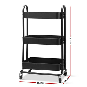 Artiss 3 Tier Kitchen Trolley Storage Cart Portable Rolling Rack Shelf Wheels
