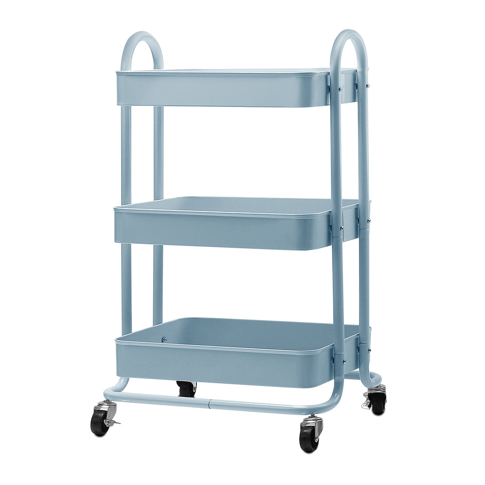 Artiss 3 Tier Kitchen Trolley Cart Utility Rolling Storage Shelf Rack Portable