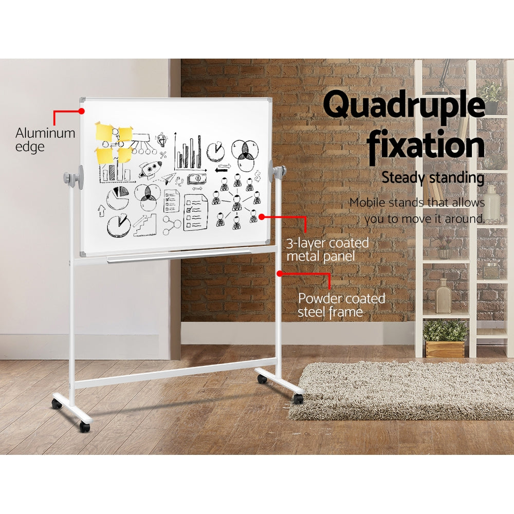 Mobile Whiteboard with Stand Double Sided Magnetic Aluminum Frame 120x90cm